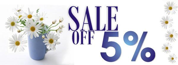 Sale off 5% đơn hàng vào thứ 6 hàng tuần