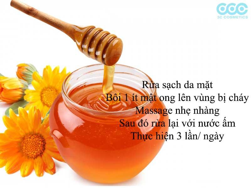 chữa làn da bị cháy nắng bằng mật ong