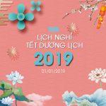 Thông báo Lịch nghỉ Tết Dương Lịch 2019